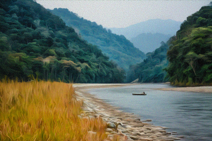 Boatman, Noa Dehing river, Arunachal | Digital painting based on a photo