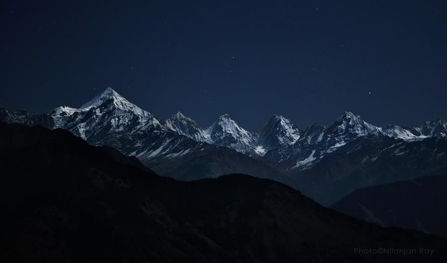 Panchachuli peaks, full moon