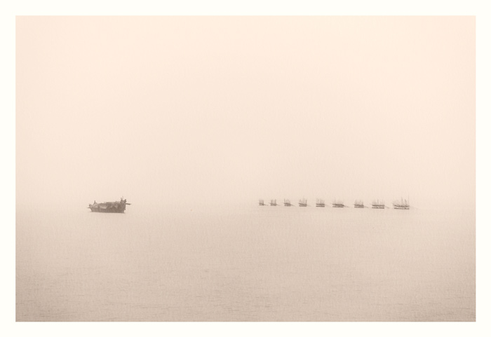 Mighty Brahmaputra. Where water meets sky. Shot from a ferry.
