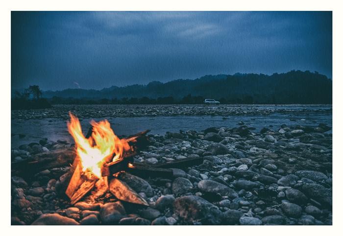 Evening. Campfire. Chai time. Arunachal. Riverbank.